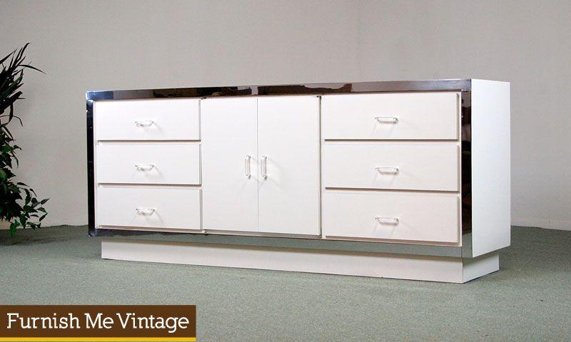 chrome nightstands retro long chrome u0026 lucite dresser furnish me vintage