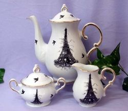 Fielder Keepsakes - Black Eiffel Tower Teapot Creamer Sugar Set New Arrivals
