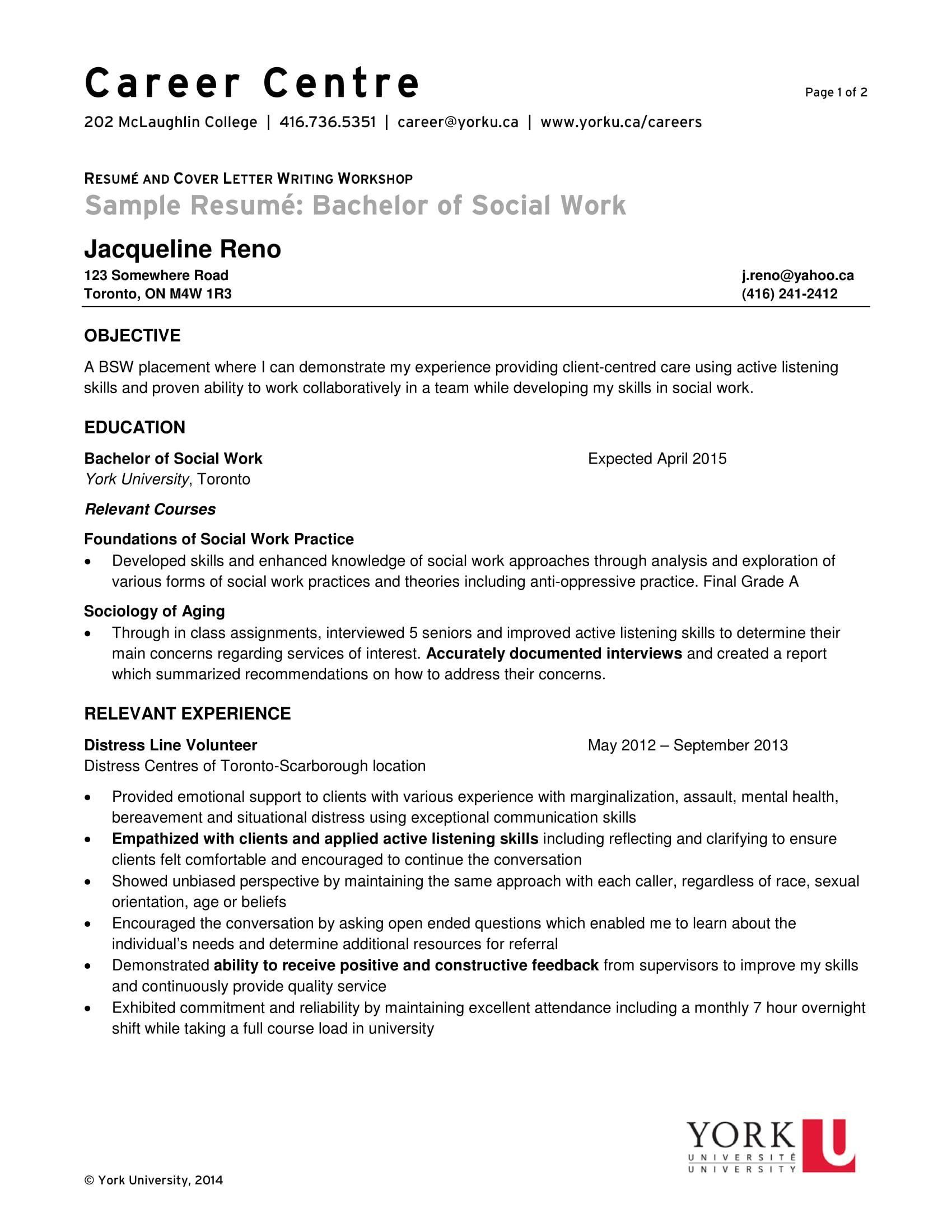 Resume for social work very good 14 best social worker