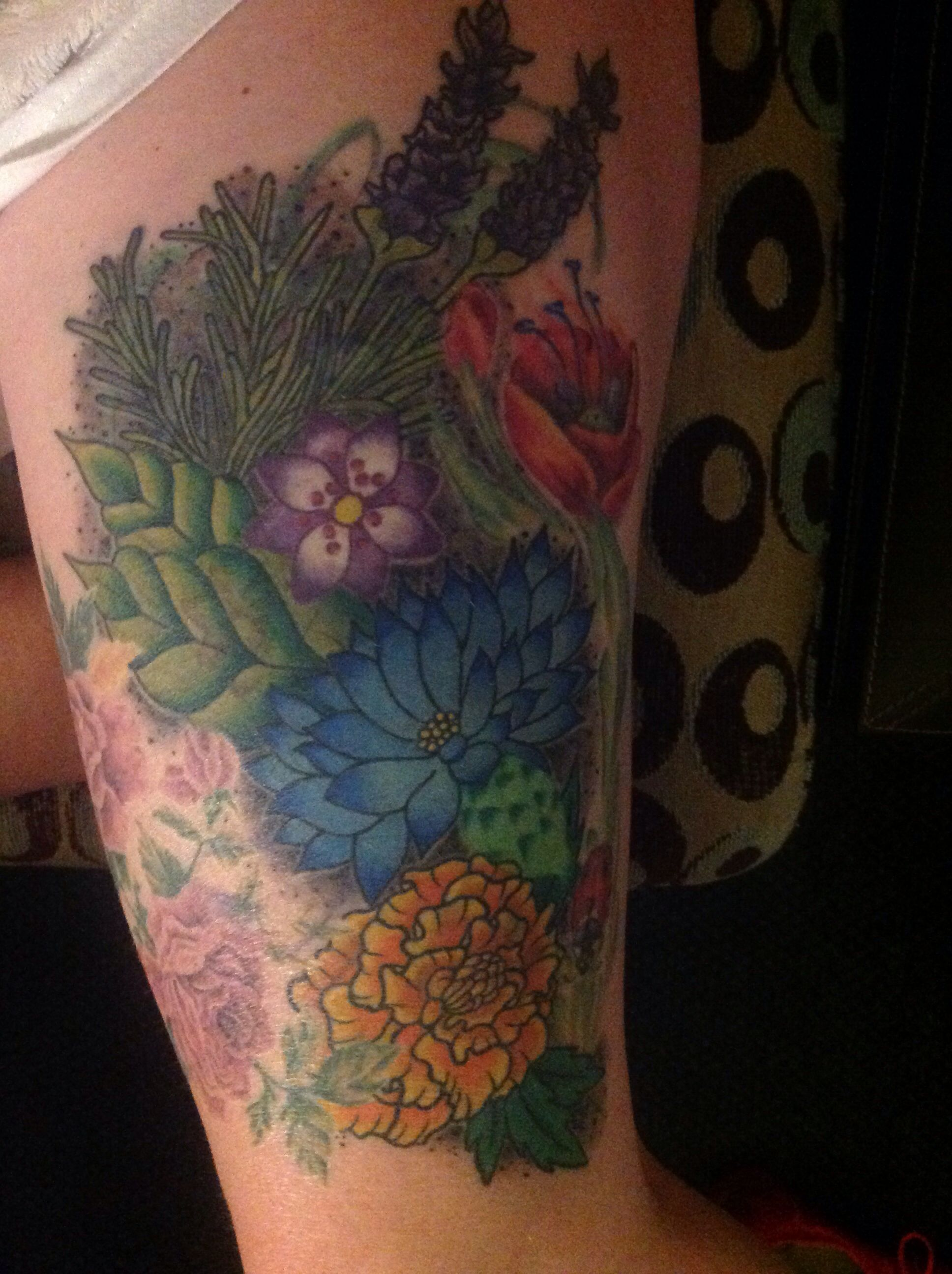 A Wee Garden On My Thigh Re Work And Addition By The Very