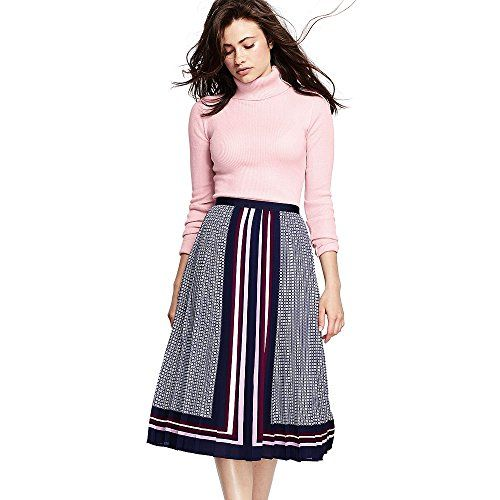c7cc13cd57a5 Canvas by Lands End Womens Petite Pleated Midi Skirt 6 Burgundy Border  Print * You can find out more details at the link of the image.