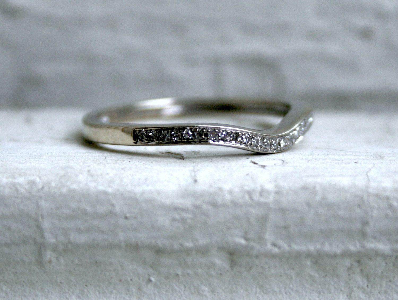 Curved Pave Vintage 10K White Gold Diamond Wedding Band