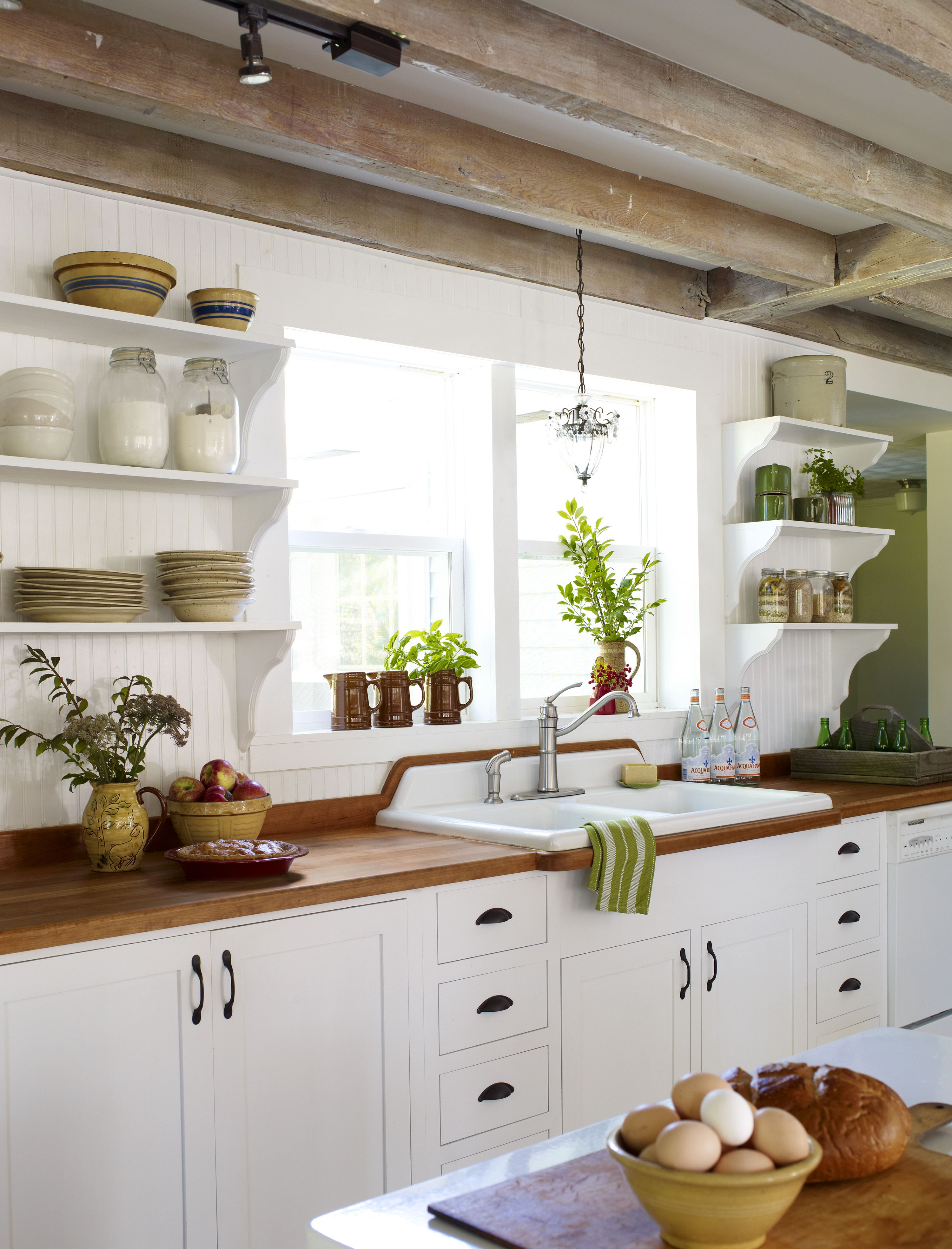 Wood Counter Style Refreshed Farmhouse Home Kitchens Kitchen