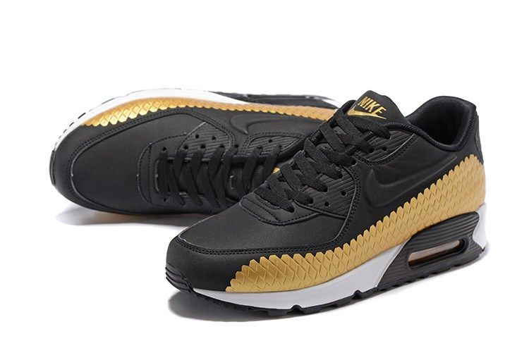 low priced ce1ca b4643 Nike Air Max 90 Embossing Woven Men Black Gold