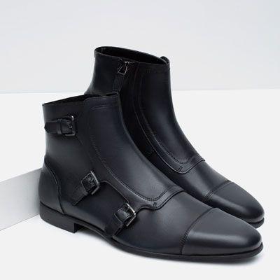 LEATHER MONKSTRAP BOOTS-Shoes-MAN-SALE | ZARA United States