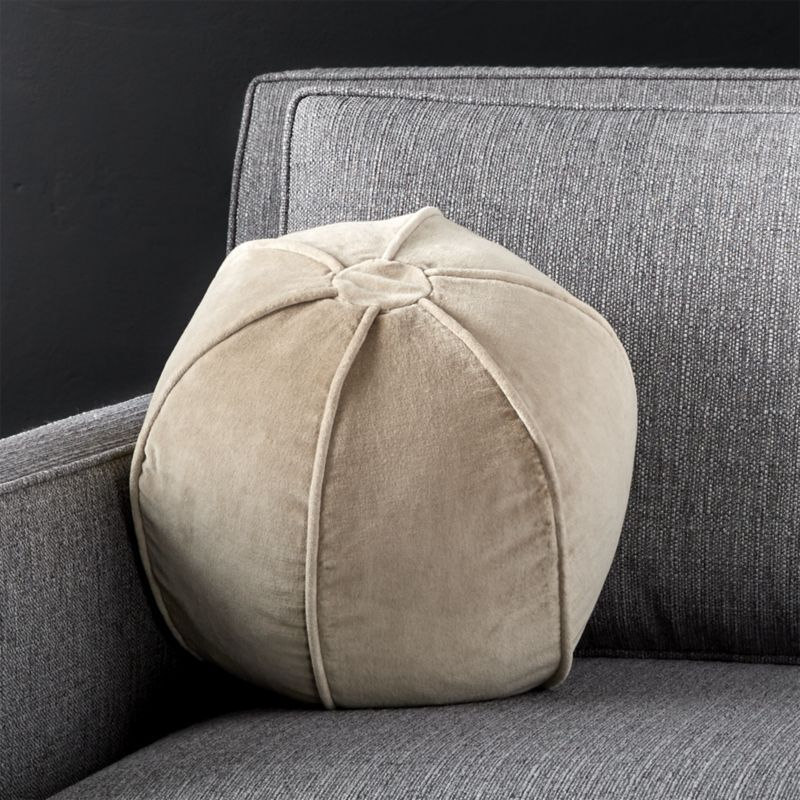 Shop Brenner Hummus 12 Sphere Pillow Our Mid Century Barely Brown Velvet Pillow Takes On A Fun Spherical Shap Plush Throw Pillows Pillows Handmade Pillows