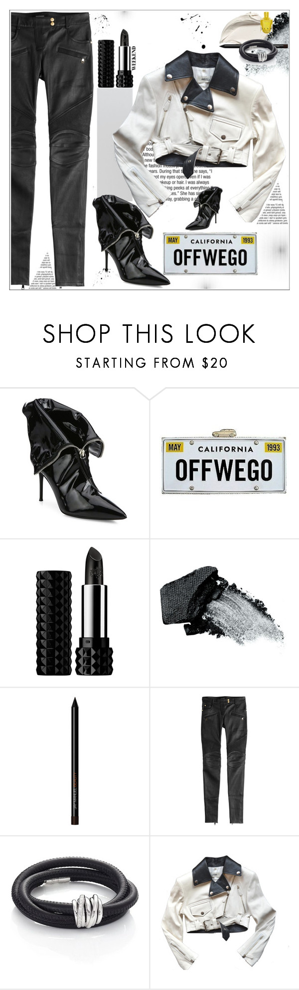 """After Dark: Moto Jackets"" by dragananovcic ❤ liked on Polyvore featuring Giuseppe Zanotti, Kate Spade, Kat Von D, Gorgeous Cosmetics, Balmain, de Grisogono, Jean-Paul Gaultier, polyvoreeditorial, polyvorecontest and motojackets"