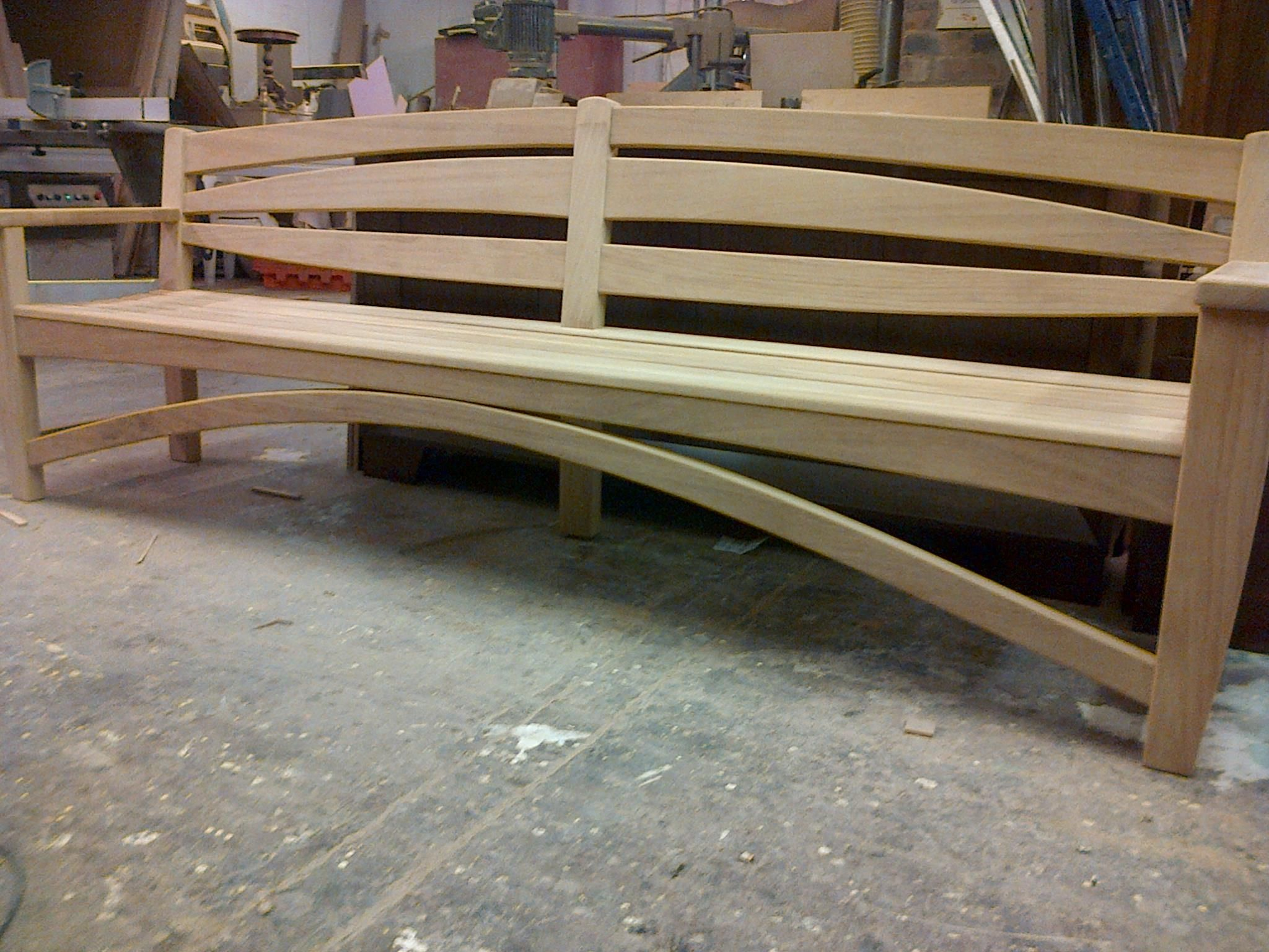Custom Bench By Ian Charles Made Out Of Iroko Wood Diy Bench Custom Benches Bench