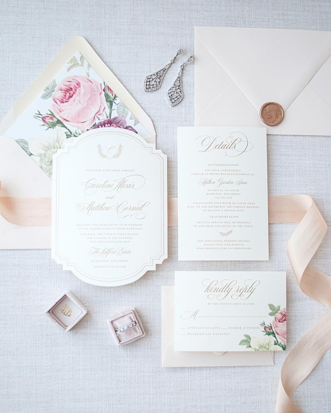 Vintage floral blush and gold wedding invitation with silk ribbon ...