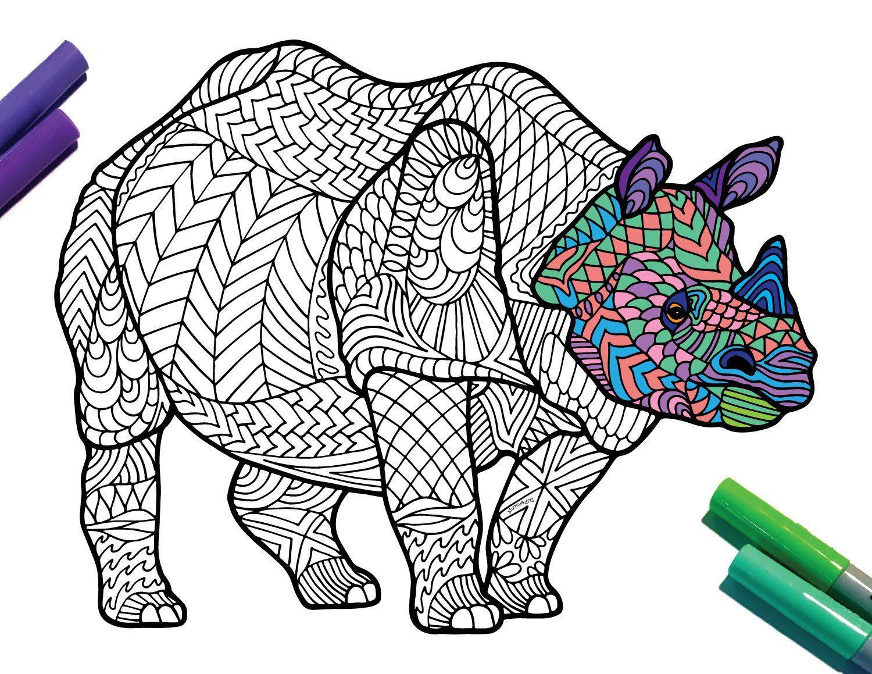 Javan Rhinoceros Endangered Animal PDF Zentangle