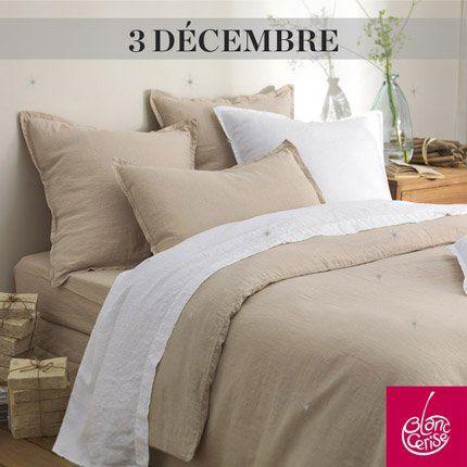 une parure de lit rêves de lin taupe offerte par blanc cerise