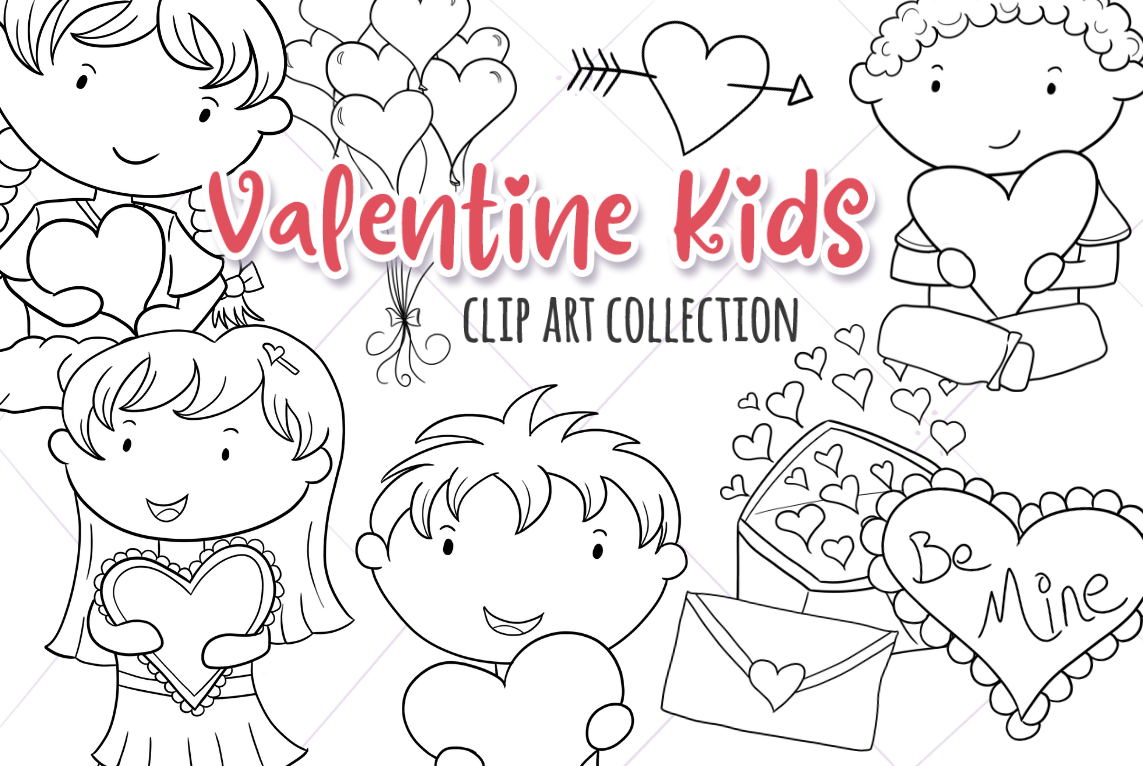 Cute Valentine S Day Black And White Graphic By Keepinitkawaiidesign Creative Fabrica Valentines For Kids Digital Stamps Illustration Design