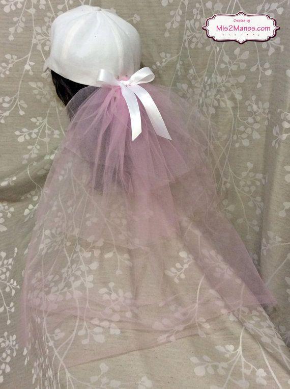 Baseball Cap Veil Pink Bridal Shower Veil Attach To Any Basball Cap Bridal Shower Veil Layered Bach Bridal Shower Veil Pink Bridal Shower Bachelorette Veil