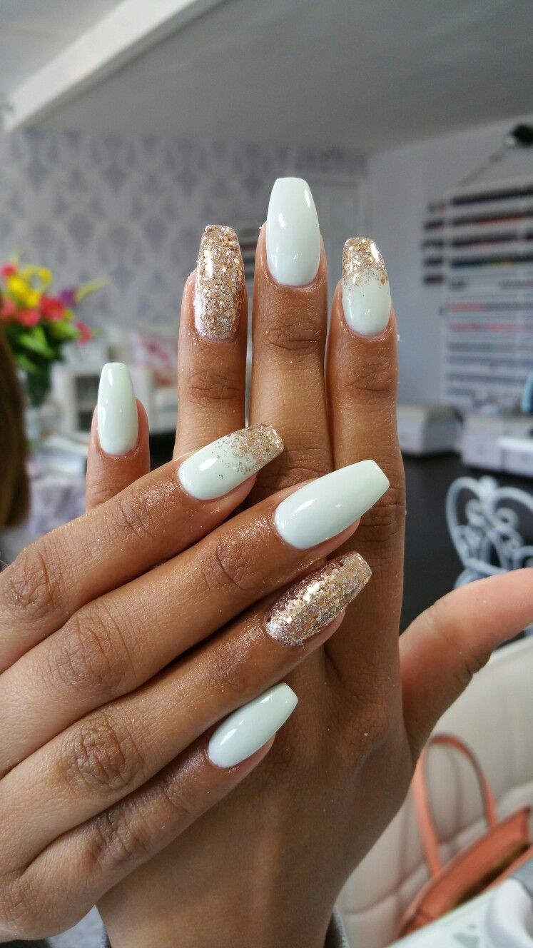 Acrylic Nails White And Rose Gold Glitter