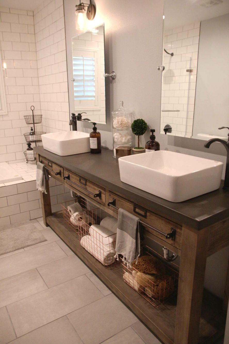 Bathroom Remodel: Restoration Hardware Hack   Mercantile Console Table  Hacked Into A Double Vanity. Vessel Sinks U0026 Faucet From Loweu0027s.