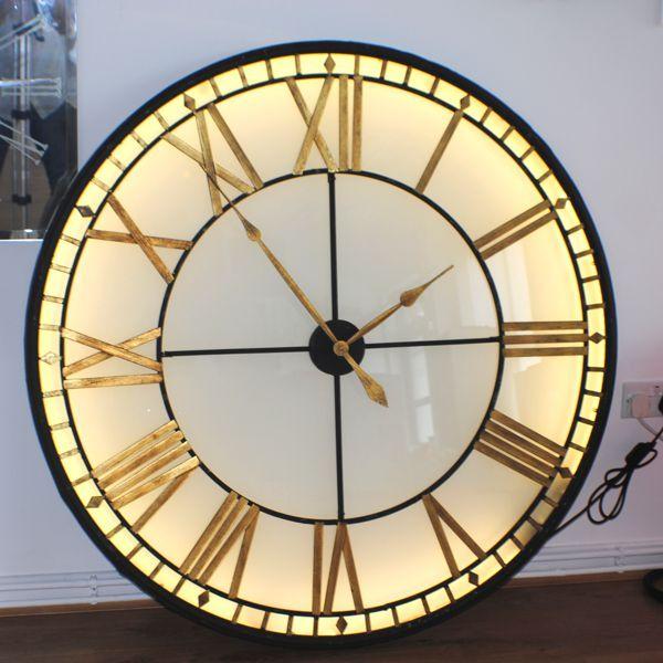 Extra Large Big Illuminated Light Big Skeleton Vintage Clock Uk Wall Clock Light Big Wall Clocks Diy Clock Wall