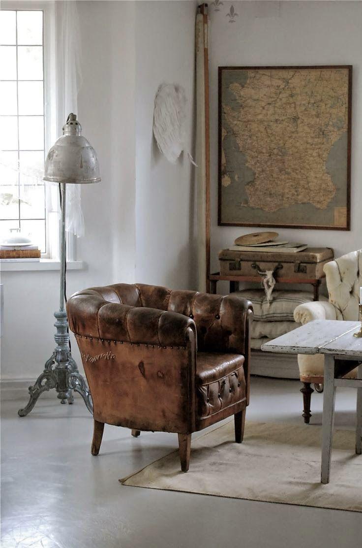 Leer stoer industrieel interieur  woonkamer inspiratie in