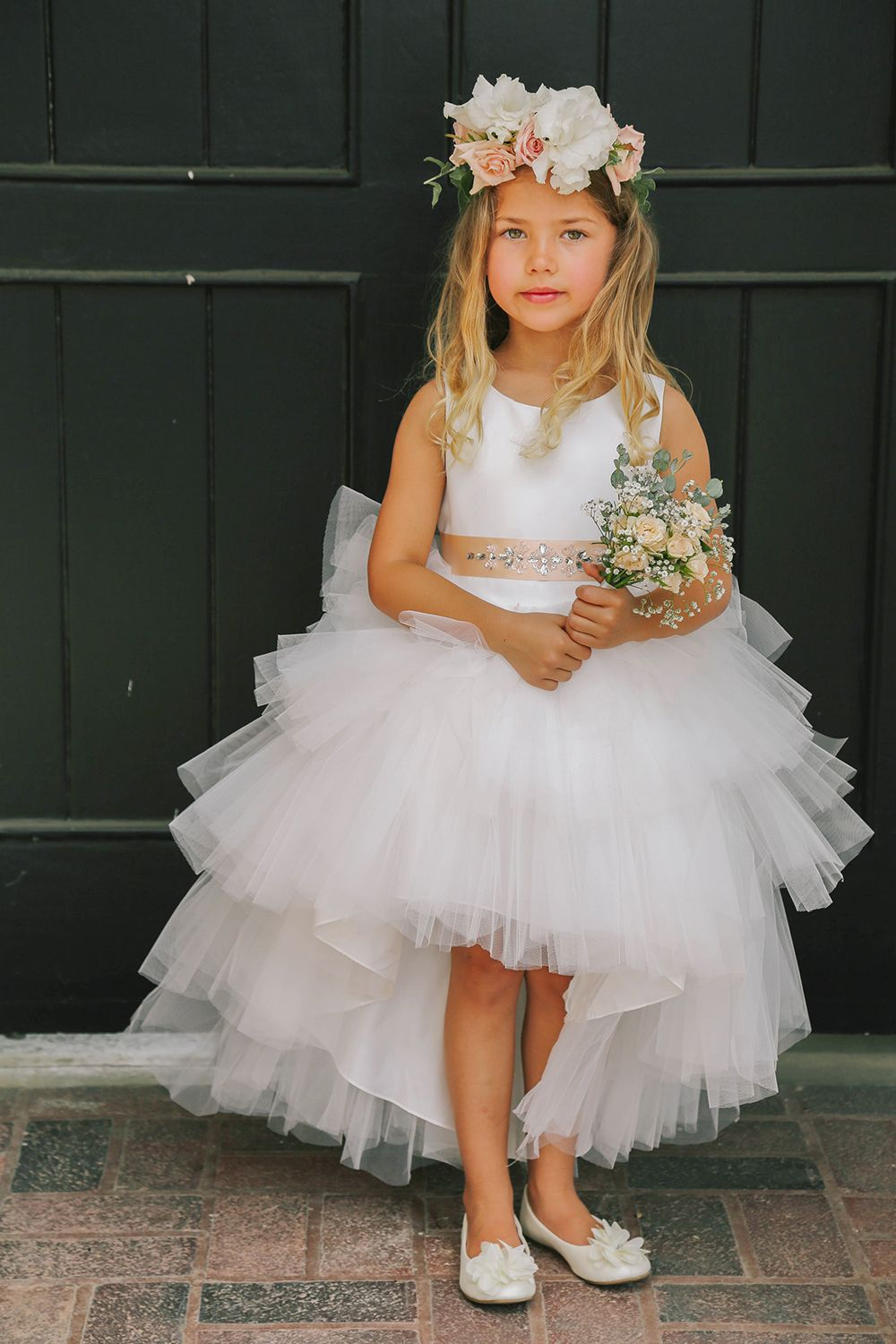 Tulle Flower Girl Dresses with Taupe