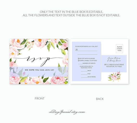 Pink Peony Rsvp Postcard Template Printable Floral Double