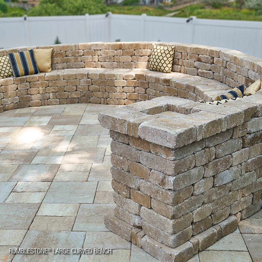 Rumblestone Large Curved Bench Pavestoneco Pavestone Rumblestone Curvedbench Outdoorliving In 2020 Backyard Patio Designs Outside Benches Patio Design