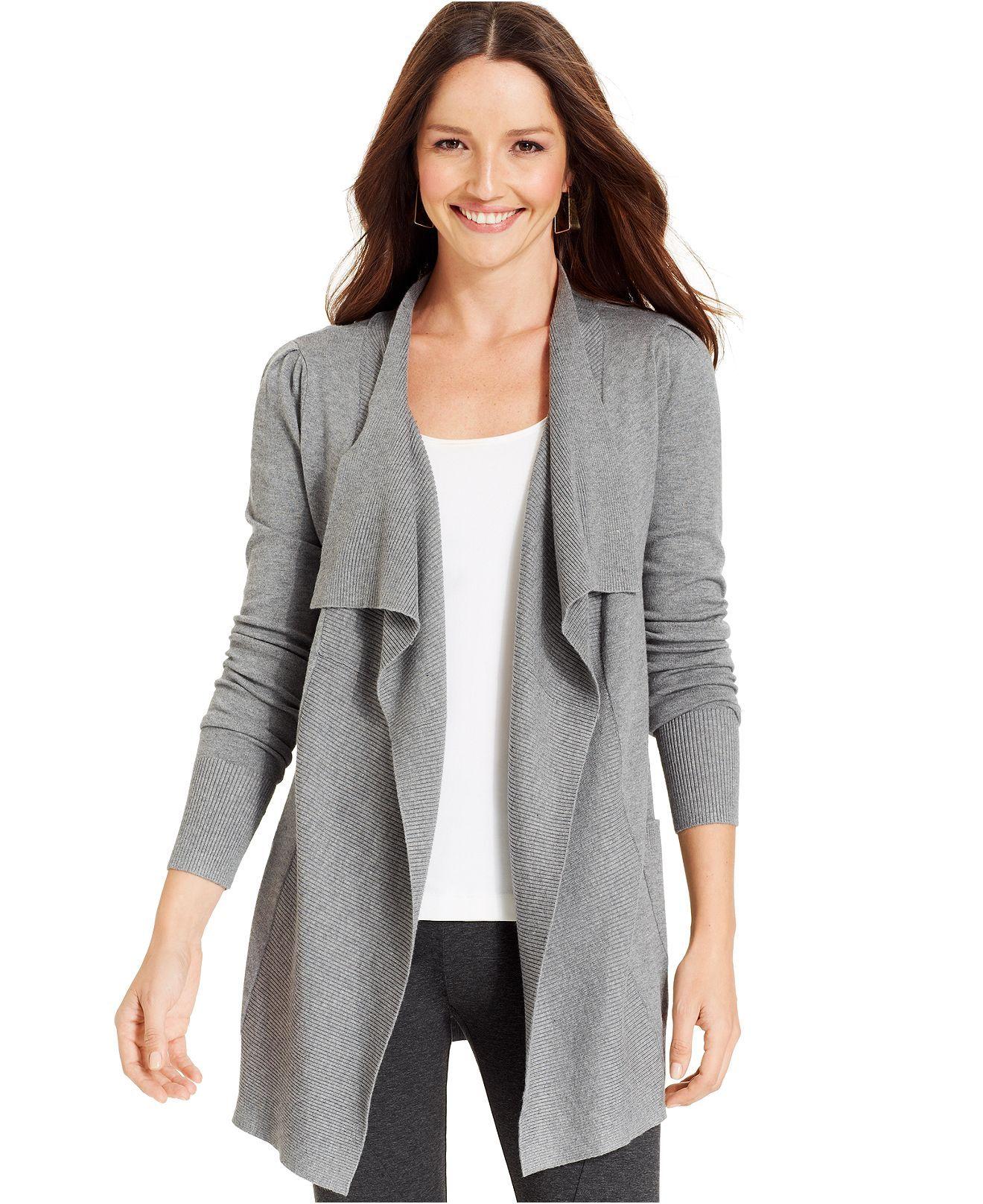 Karen Kane Sweater, Long-Sleeve Ruffled Ribbed Open-Front Cardigan ...