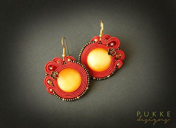 Red soutache earrings  Cat eye earrings Women accessory by pUkke
