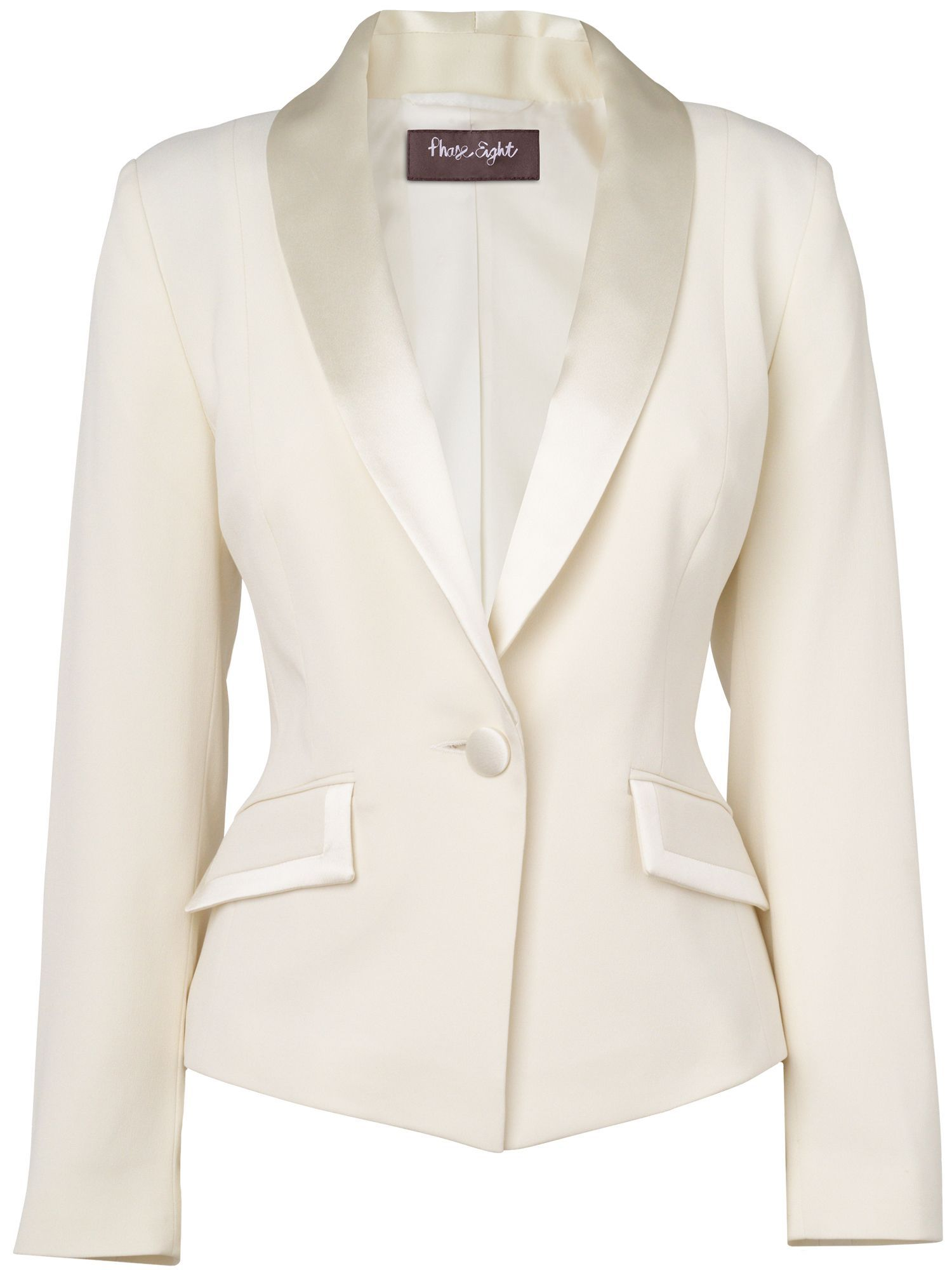 Womens Phase Eight Paula Tuxedo Jacket, Ivory | From ...