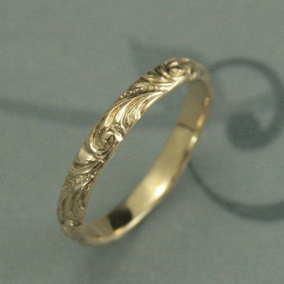 Yellow Gold Wedding Band Florence Women S Ring Vintage Style Swirl Patterned Elegant Anniversary
