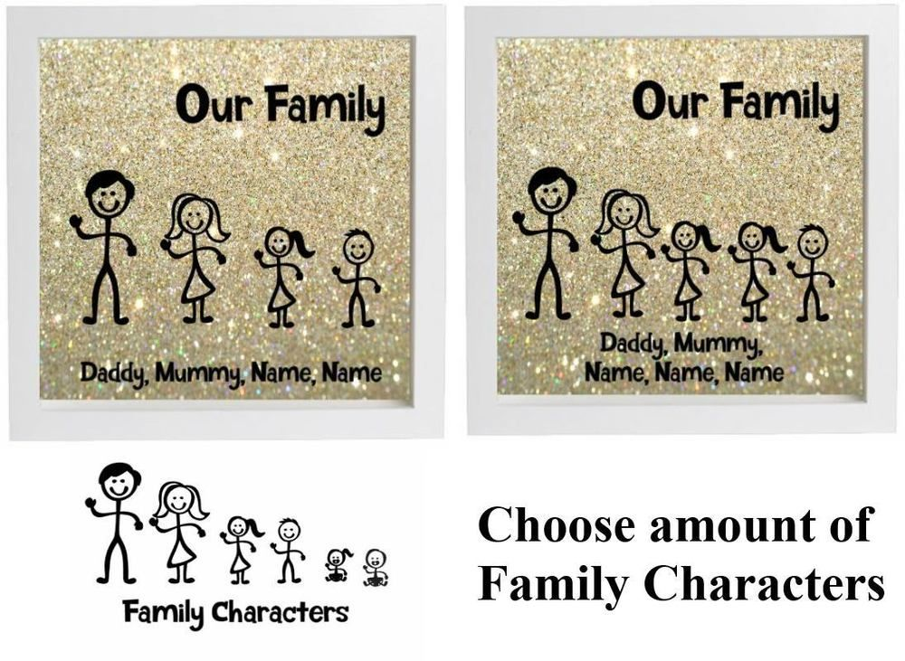 Vinyl Sticker DIY Box Frame STICK FIGURE FAMILY Our Family - How to make vinyl stickers stick