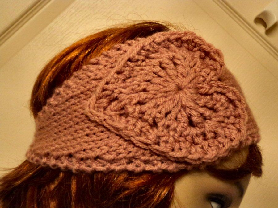 Hand Knit soft Acrylic Rosy Cheeks Mauve with 2 Hearts Button Back Headband - Headwrap.