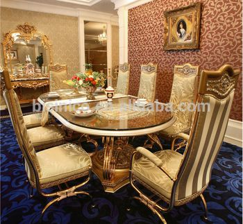 Luxury French Baroque Style Golden Metal Dining Table With Chairs