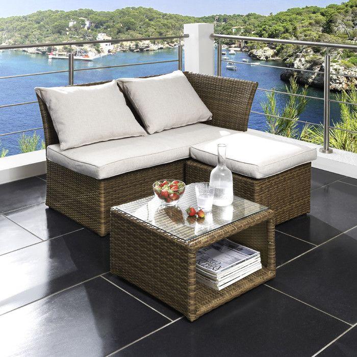 3 Sitzer Lounge Set Cardone Aus Polyrattan Mit Polster Balkonmobel Lounge Mobel Lounge Mobel Balkon