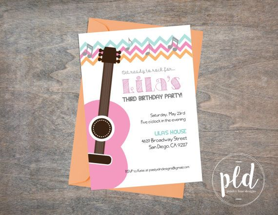 Pink guitar birthday party invitation pink guitar birthday guitar pink guitar birthday invitation filmwisefo