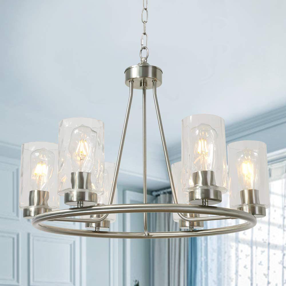 Bonlicht Modern Farmhouse Chandelier 6 Lights Clear Water Glass