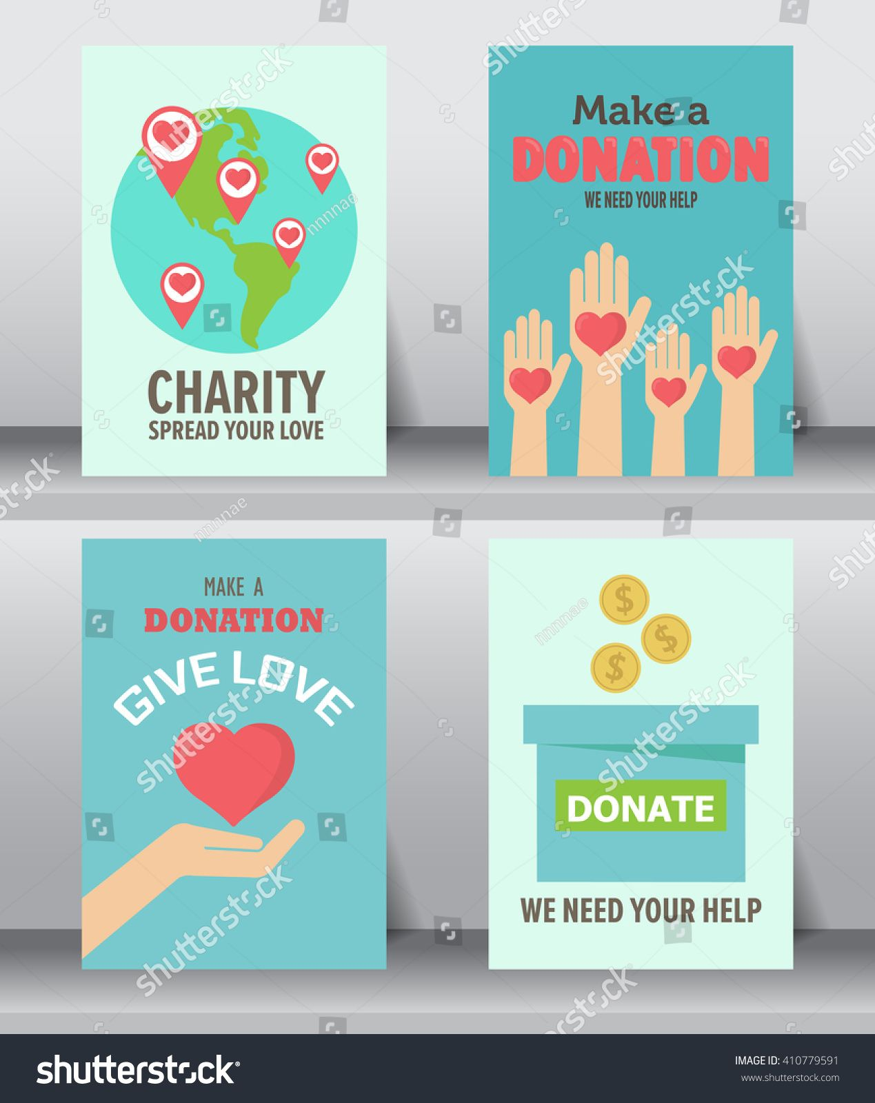 Give And Share Your Love To Poor People. Charity And Donation Poster Set.  Can Be Use For Background And Invitation Card. Brochure Layout Template In  Size. ...  Donation Flyer Template