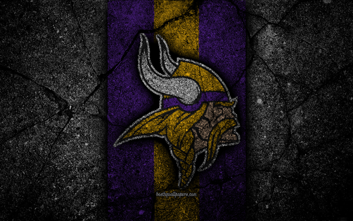 Download wallpapers 4k, Minnesota Vikings, logo, black
