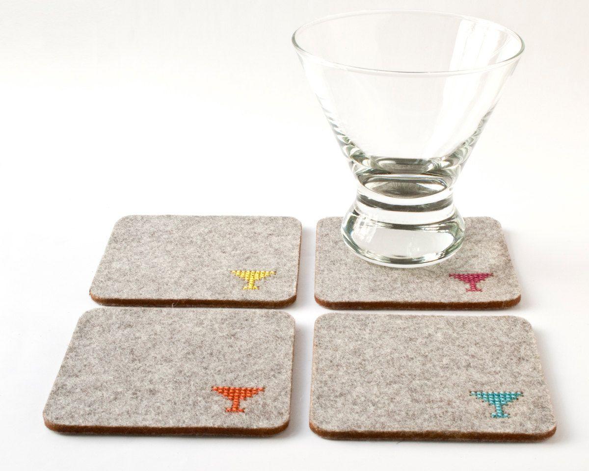 crafty ideas modern coasters. DIY Coaster Kit  Cross Stitch Felt Set with Modern Martini Glass Pattern 24 00