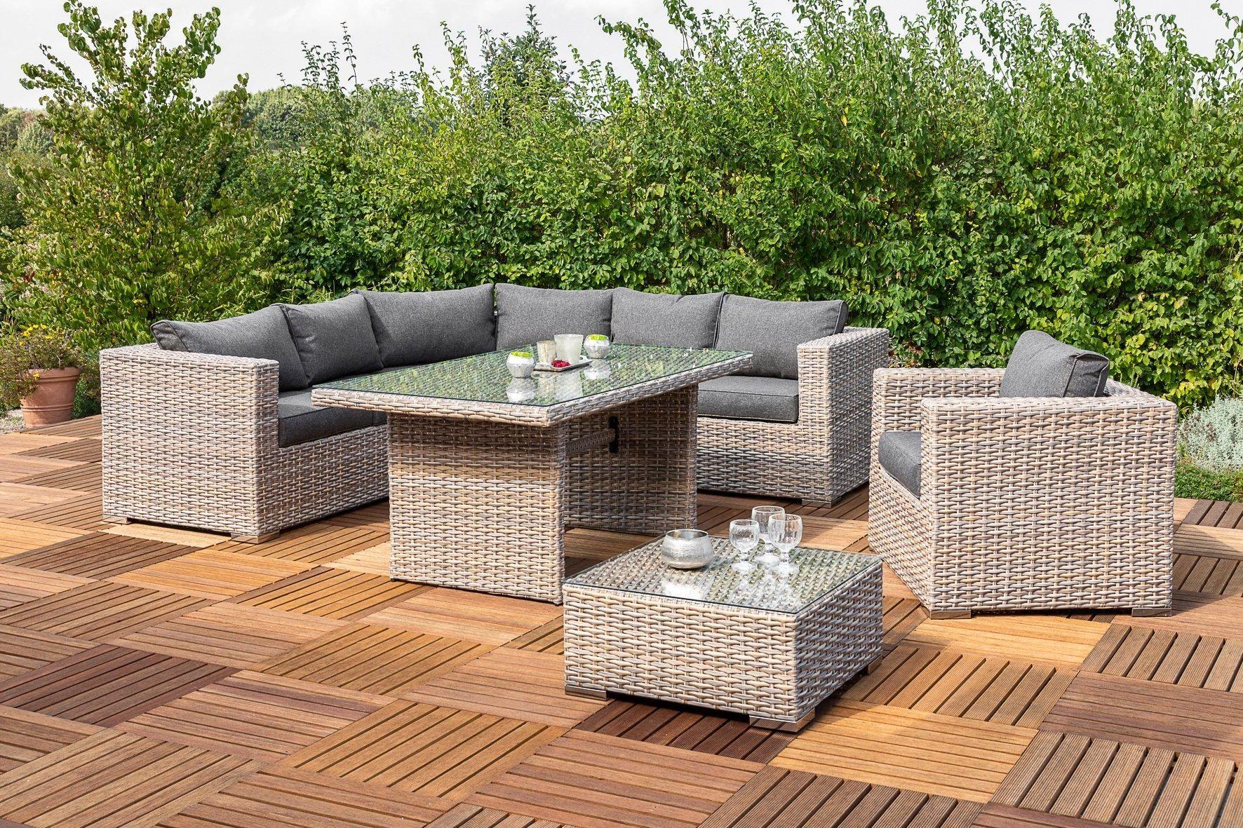Merxx Loungeset San Priamo 19 Tlg Rundecke Sessel Tisch Loungetisch Polyrattan Lounge Tisch Lounge Mobel Lounge