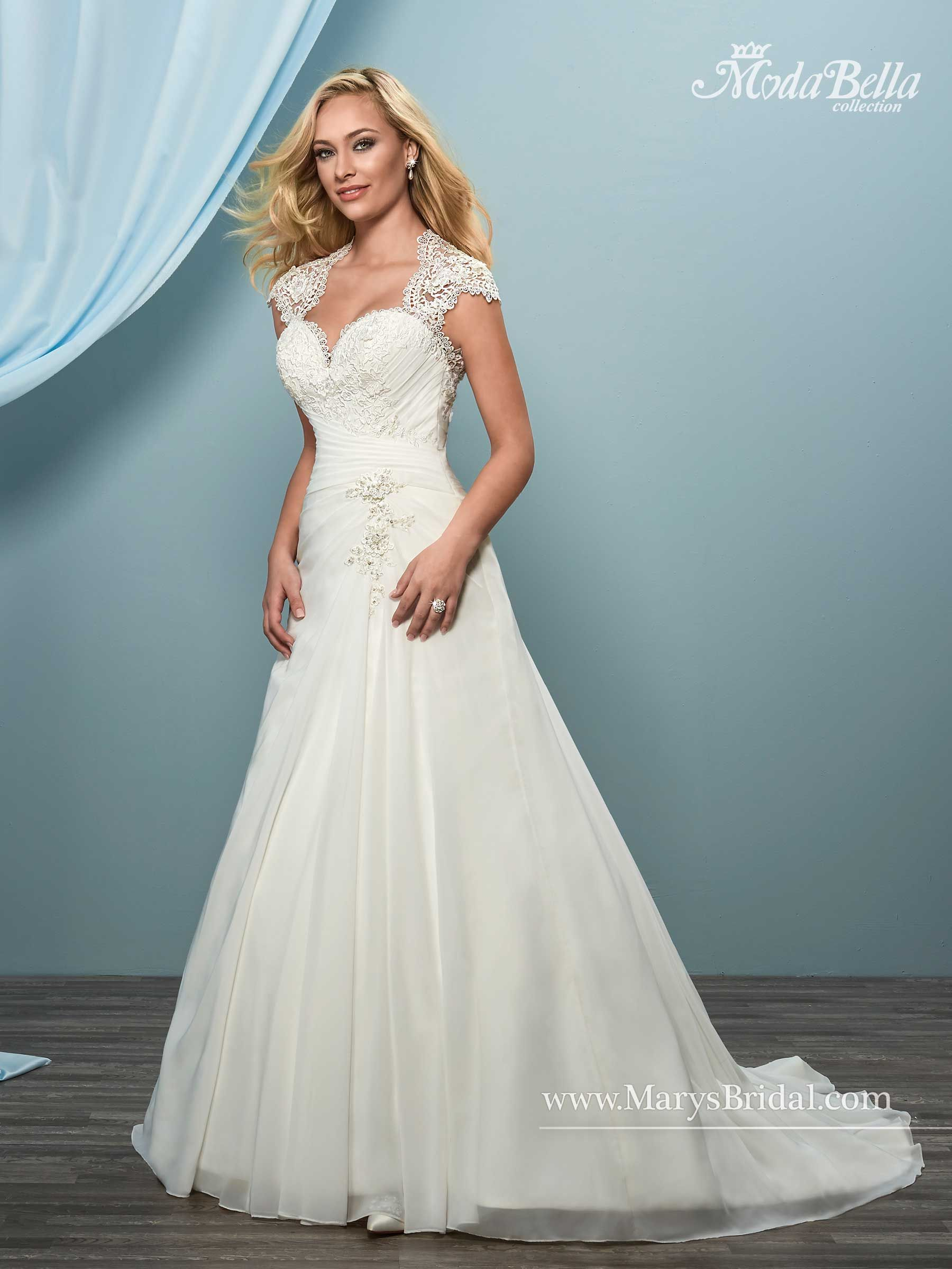 Chiffon and lace A-line bridal gown with sweetheart neck line, cap ...