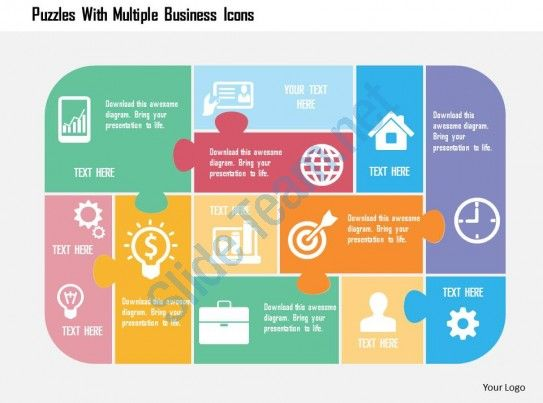 Puzzles With Multiple Business Icons Flat Powerpoint Design Slide