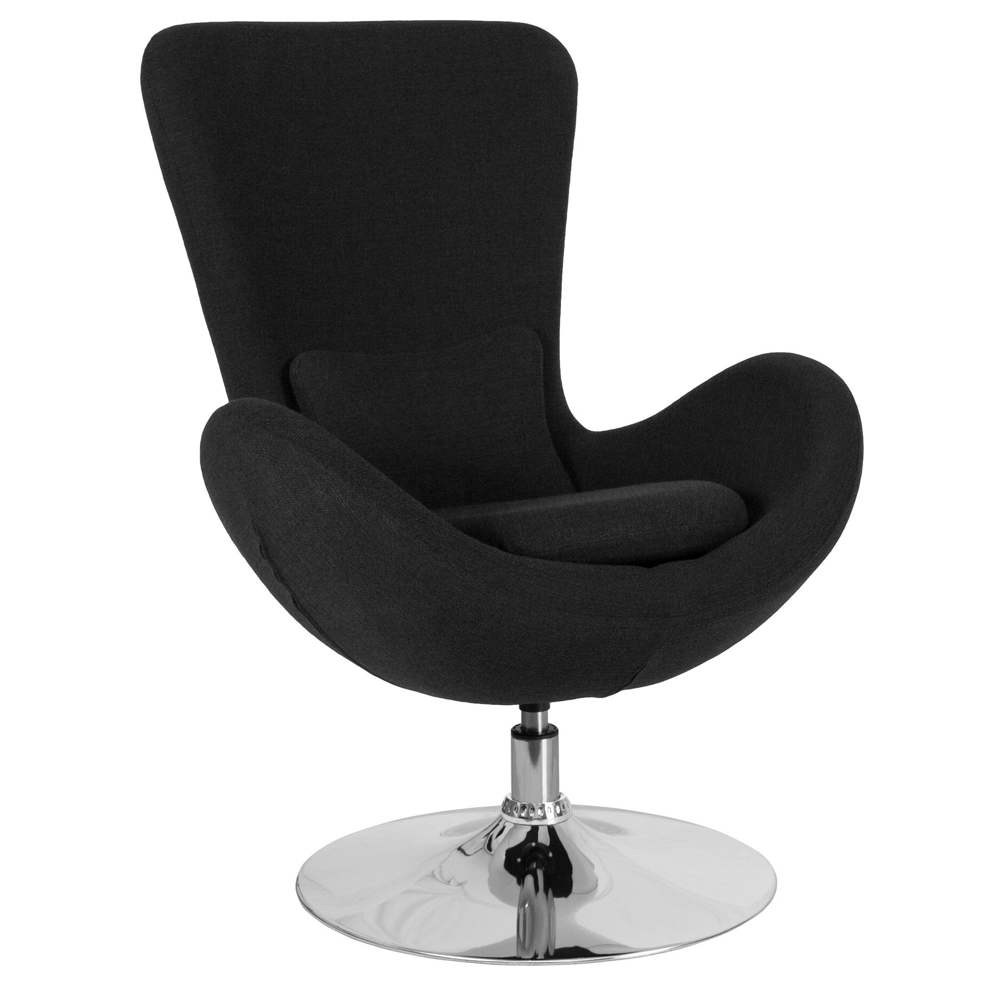 "38"" Black Fabric Elegant Egg Series Comfortable Side Reception Chair"