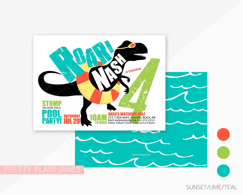 Dinosaur Pool Party Birthday Invitation