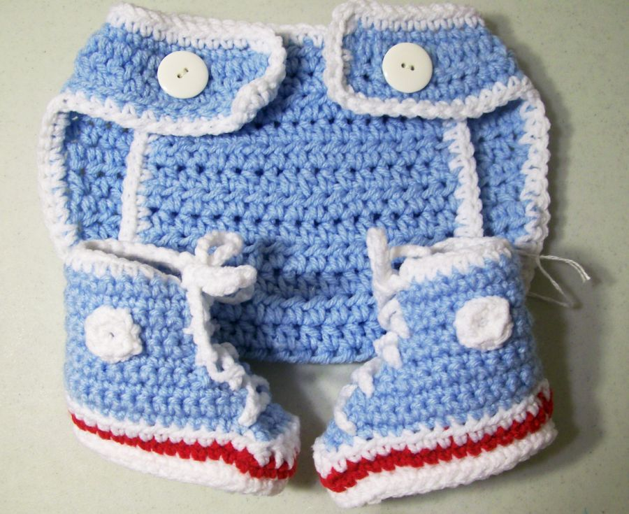 Baby Diaper Cover and Hi Top Sneakers--Blue with white--Baby shower gift-PLEASE STATE SIZE