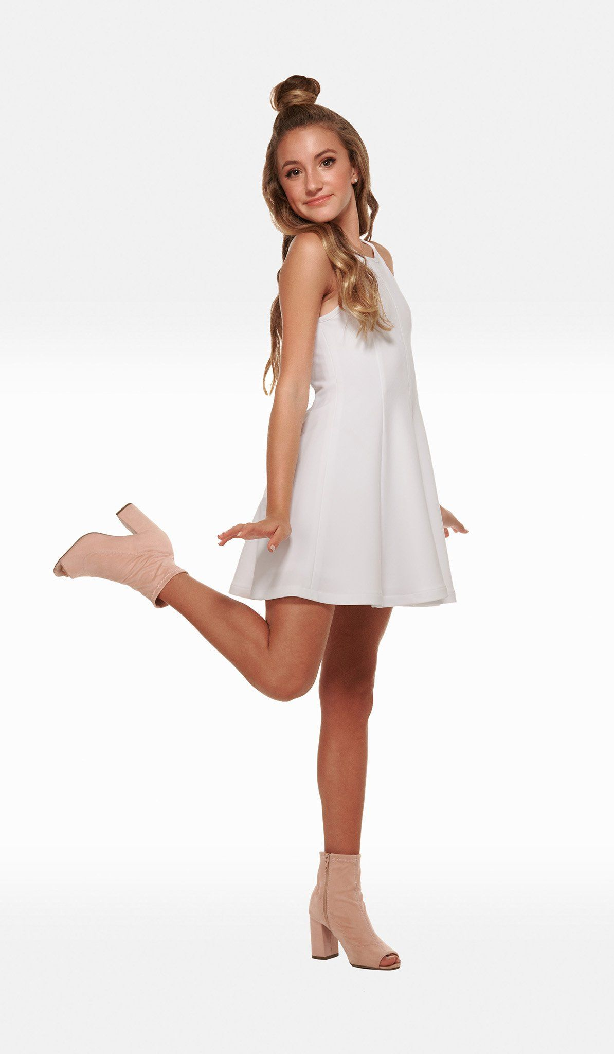 The Sally Miller Serena Dress - White textured stretch knit fit