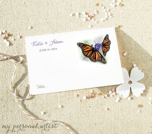 Michelle Mospens Monarch Butterfly wedding place cards.