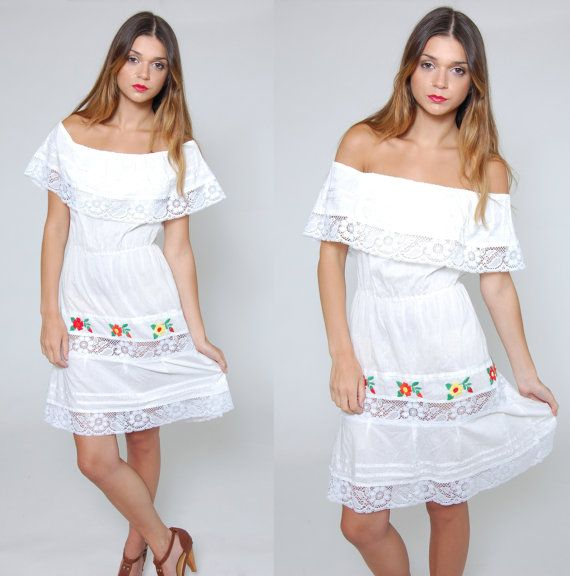 Vintage 70s MEXICAN Embroidered Dress Mexican Wedding Dress White ...