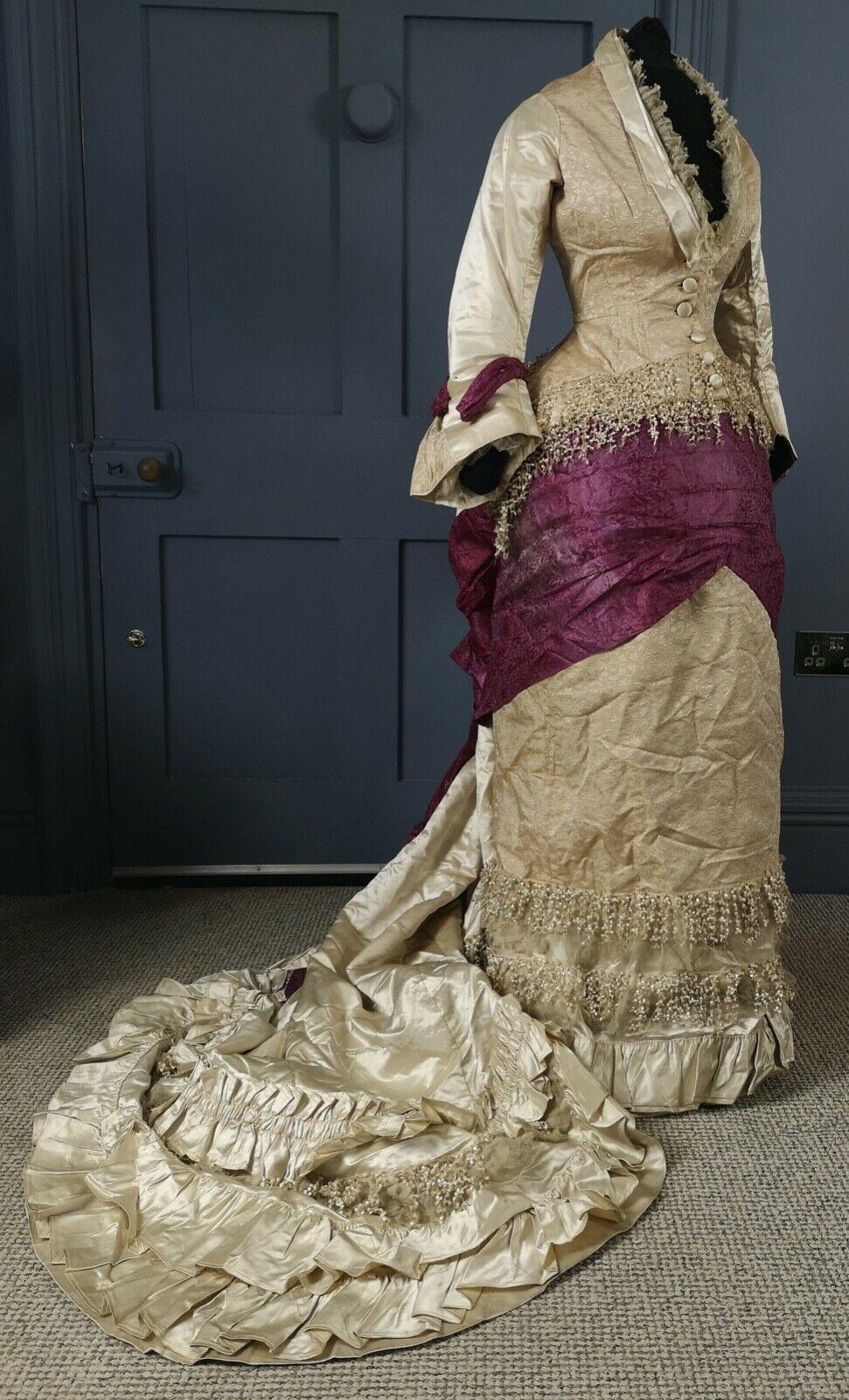 Details zu RARE 1880s Natural Form Bustle Ballgown / Evening Dress - Victorian Antique #dollvictoriandressstyles
