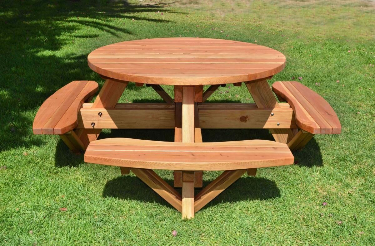Round picnic tables attached benches garden picnic tables round picnic tables attached benches watchthetrailerfo