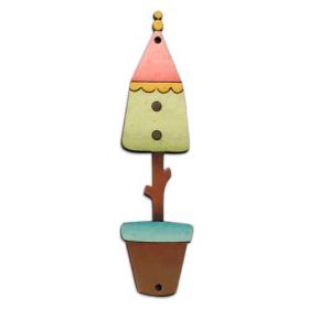 Botón decorativo de madera con forma de casa para pájaro.  Medida: 7.6 x 2 cm.