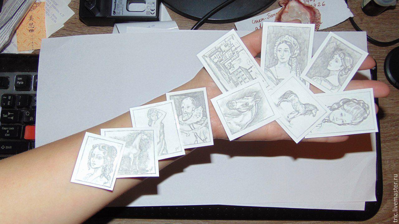 Купить Миниатюрные рисунки карандашом для интерьера художника 1:12 - коллекционная миниатюра, кукольная миниатюра
